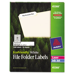 Avery EcoFriendly Permanent File Folder Labels, 0.66 x 3.44, White, 30/Sheet, 50 Sheets/Pack