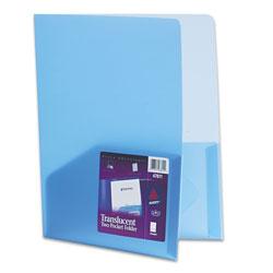Avery Plastic Two-Pocket Folder, 20-Sheet Capacity, Translucent Blue