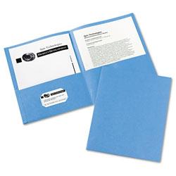 Avery Two-Pocket Folder, 40-Sheet Capacity, Light Blue, 25/Box