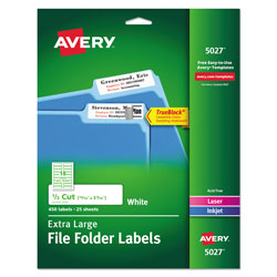 Avery Extra-Large TrueBlock File Folder Labels with Sure Feed Technology, 0.94 x 3.44, White, 18/Sheet, 25 Sheets/Pack