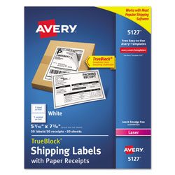 Avery Shipping Labels with Paper Receipt and TrueBlock Technology, Inkjet/Laser Printers, 5.06 x 7.63, White, 50/Pack