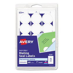 Avery Printable Mailing Seals, 1 in dia., White, 15/Sheet, 40 Sheets/Pack