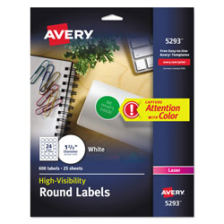 Avery Permanent Laser Print-to-the-Edge ID Labels w/SureFeed, 1 2/3 india, White, 600/PK