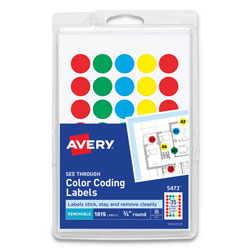 Avery Handwrite-Only Self-Adhesive  inSee Through in Removable Round Color Dots, .75 in dia., Assorted Colors, 35/Sheet, 29 Sheets/Pack