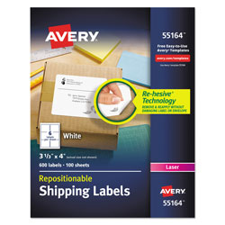 Avery Repositionable Shipping Labels w/SureFeed, Laser, 3 1/3 x 4, White, 600/Box