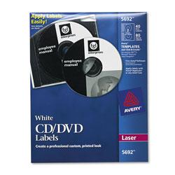 Avery Laser CD Labels, Matte White, 40/Pack