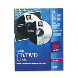 Avery Laser CD Labels, Matte White, 250/Pack
