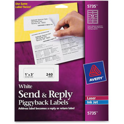 Avery Send & Reply Labels, White, 12/Sheet, 240 per Pack