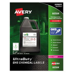 Avery UltraDuty GHS Chemical Waterproof and UV Resistant Labels, 4 x 4, White, 4/Sheet, 50 Sheets/Box