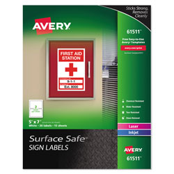 Avery Surface Safe Removable Label Safety Signs, Inkjet/Laser Printers, 5 x 7, White, 2/Sheet, 15 Sheets/Pack