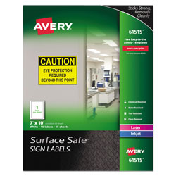 Avery Surface Safe Removable Label Safety Signs, Inkjet/Laser Printers, 7 x 10, White, 15/Pack