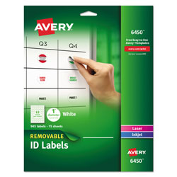 Avery Removable Multi-Use Labels, Inkjet/Laser Printers, 1 in dia., White, 63/Sheet, 15 Sheets/Pack