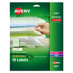 Avery Removable Multi-Use Labels, Inkjet/Laser Printers, 0.5 x 1.75, White, 80/Sheet, 25 Sheets/Pack