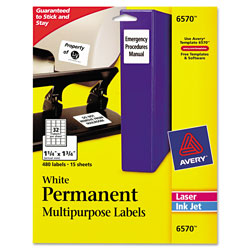 Avery Permanent ID Labels w/ Sure Feed Technology, Inkjet/Laser Printers, 1.25 x 1.75, White, 32/Sheet, 15 Sheets/Pack