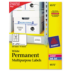 Avery Permanent ID Labels w/ Sure Feed Technology, Inkjet/Laser Printers, 2 x 2.63, White, 15/Sheet, 15 Sheets/Pack