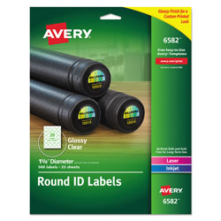 Avery Round Print-to-the Edge Labels with SureFeed and EasyPeel, 1.67 in dia, Glossy Clear, 500/PK