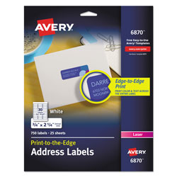 Avery Vibrant Laser Color-Print Labels w/ Sure Feed, 3/4 x 2 1/4, White, 750/PK