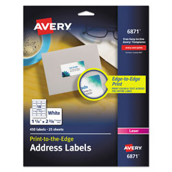Avery Vibrant Laser Color-Print Labels w/ Sure Feed, 1 1/4 x 2 3/8, White, 450/Pack