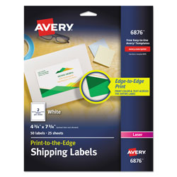 Avery Vibrant Laser Color-Print Labels w/ Sure Feed, 4 3/4 x 7 3/4, White, 50/Pack