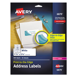 Avery Vibrant Laser Color-Print Labels w/ Sure Feed, 1 1/4 x 3 3/4, White, 300/Pack
