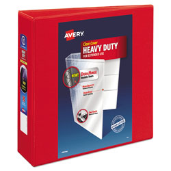Avery Heavy-Duty View Binder with DuraHinge and Locking One Touch EZD Rings, 3 Rings, 3 in Capacity, 11 x 8.5, Red