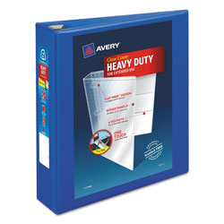 Avery Heavy-Duty View Binder with DuraHinge and One Touch EZD Rings, 3 Rings, 2 in Capacity, 11 x 8.5, Pacific Blue