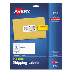 Avery Shipping Labels w/ TrueBlock Technology, Inkjet Printers, 2 x 4, White, 10/Sheet, 25 Sheets/Pack