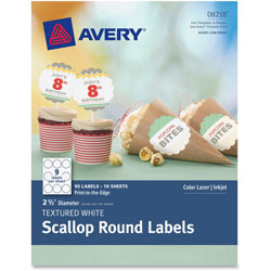 Avery Textured Scallop Round Labels, 2-1/2 in D, 90/PK, WE