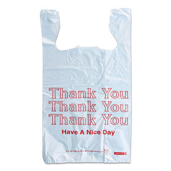 Monarch Plastic  inThank You - Have a Nice Day in Shopping Bags, 11.5 in x 6.5 in x 22 in, White, 250/Box