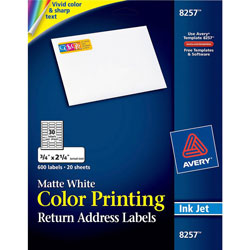 Avery Matte White Ink Jet Labels, 3/4 inx2 1/4 in, 600 per Pack