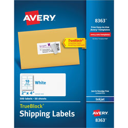 Avery Shipping Labels with TrueBlock Technology, 2 inx4 in, White, 500 per Pack