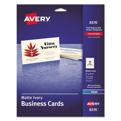Avery Printable Microperforated Business Cards with Sure Feed Technology, Inkjet, 2 x 3.5, Ivory, Matte, 250/Pack