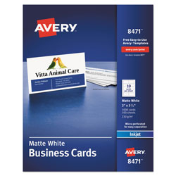 Avery Printable Microperforated Business Cards with Sure Feed Technology, Inkjet, 2 x 3.5, White, Matte, 1000/Box