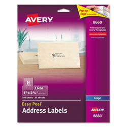 Avery Matte Clear Easy Peel Mailing Labels w/ Sure Feed Technology, Inkjet Printers, 1 x 2.63, Clear, 30/Sheet, 25 Sheets/Pack