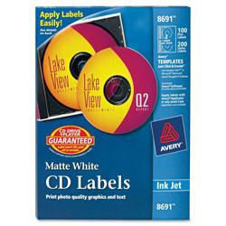 Avery Inkjet CD Labels, Matte White, 100/Pack
