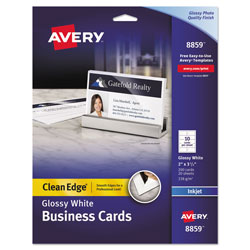 Avery Clean Edge Business Cards, Inkjet, 2 x 3 1/2, Glossy White, 200/Pack