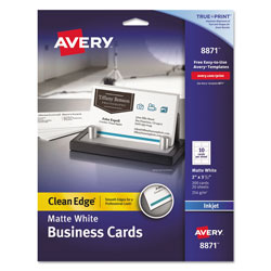 Avery True Print Clean Edge Business Cards, Inkjet, 2 x 3 1/2, White, 200/Pack