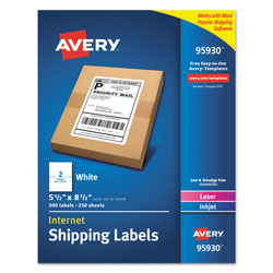 Avery White Shipping Labels-Bulk Packs, Inkjet/Laser Printers, 5.5 x 8.5, White, 2/Sheet, 250 Sheets/Box