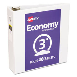 Avery Economy View Binder with Round Rings , 3 Rings, 3 in Capacity, 11 x 8.5, White