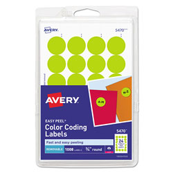 Avery Printable Self-Adhesive Removable Color-Coding Labels, 0.75 in dia., Neon Yellow, 24/Sheet, 42 Sheets/Pack