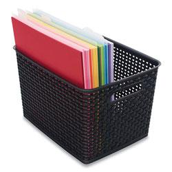 Advantus Plastic Weave Bin, Large, 13.5 in x 10.5 in x 8.75 in, Black