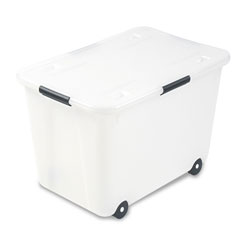 Advantus Rolling 15-Gal. Storage Box, Letter/Legal Files, 23.75 in x 15.75 in x 15.75 in, Clear