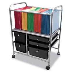 Advantus Letter/Legal File Cart w/Five Storage Drawers, 21.63w x 15.25d x 28.63h, Black