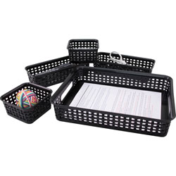 Advantus Plastic Weave Bins, 5/PK, Black