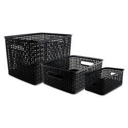 Advantus Weave Bins, 13.63 x 10.75 x 9, Black, 3/Pack