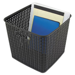 Advantus Plastic Weave Bin, Extra Large, 12.5 in x 11.13 in, Black, 2/Pack