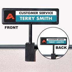 Advantus People Pointer Cubicle Sign, Plastic, 8.5 x 2, Black