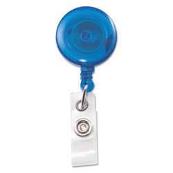Advantus Translucent Retractable ID Card Reel, 34 in Extension, Blue, 12/Pack
