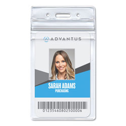 Advantus Resealable ID Badge Holder, Vertical, 3.68 x 5, Clear, 50/Pack