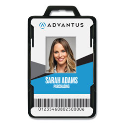 Advantus Secure-Two Card RFID Blocking Badge, 3.68 x 2.38, Black, 20/Pack